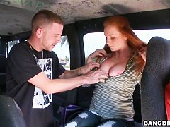 Busty ginger Lindsey Springer gets nailed in a van