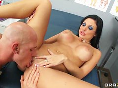 Busty nurse Aletta Ocean naughtily plays with Johnny Sins