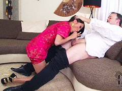 Naughty Asian horny babe PussyKat got down on her knees and deep sucking boyfrienda��s giant hard dick.