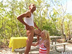 Faye Runaway gives superb blowjob in the open air