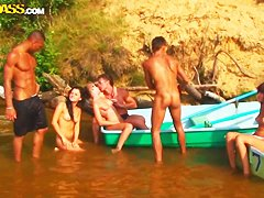 Summertime outdoor fucking action with babes in bikini