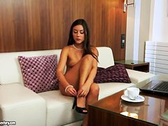 Hot brunette Iwia demonstrates her small boobs