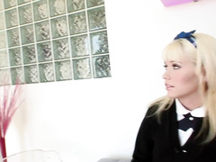 Schoolgirl gets fucked by her teacher and boyfriend