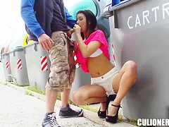 Arousing babe Susi Gala does blowjob in public
