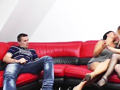 BBW-Granny in Threesome with young Couple