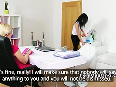 Euro cleaning lady licks female agent casting lesbians