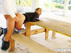 Pretty Nataly Von gets nailed under bridge