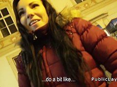 Cash hungry amateur sucks in public pov