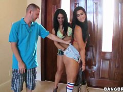 Three beautiful girlfriends show their asses to boyfriends