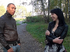 Eva Dark in hardcore shag scene in an outdoor sex vid