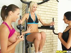Sex lesbian workout in the gym ends up in hot anal stretch!