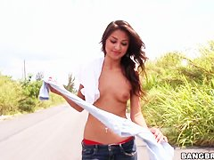 Amazing latin girl Aj Estrada is walking the street naked