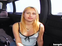 Newbie girl jumps on the BangBus and ends...